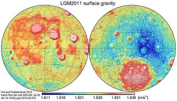 Map of gravity acceleration values over the entire surface of Earth's Moon.  Lunar Gravity Model 2011