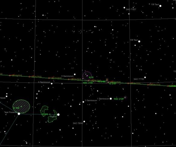 Comet 67P passing under Open Cluster M35