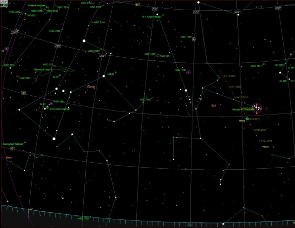 April 10, 2015 - Orion and Taurus Constellations