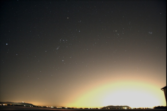 Aligning and stacking 5 images. More stars appear.