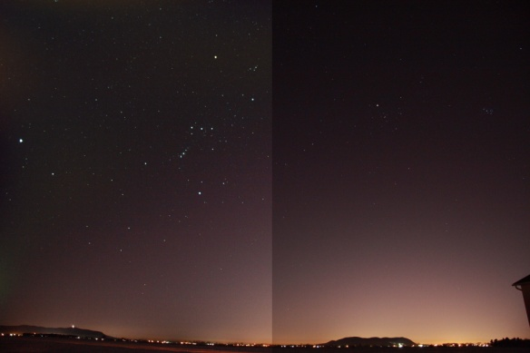 Comparing the composition with layers (left) and single shot (right)