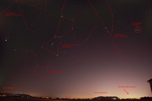 Constellations Orion and Taurus above the landscape.