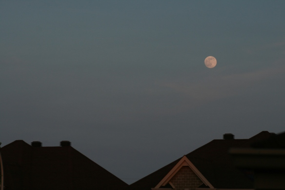 Nearly full moon rising over rooftop  - May 20th, 2016