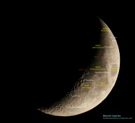Apollo 11 and 17 landing sites and other features