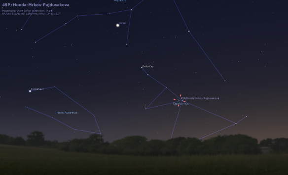 Location of comet for January 5th 5:30pm EST