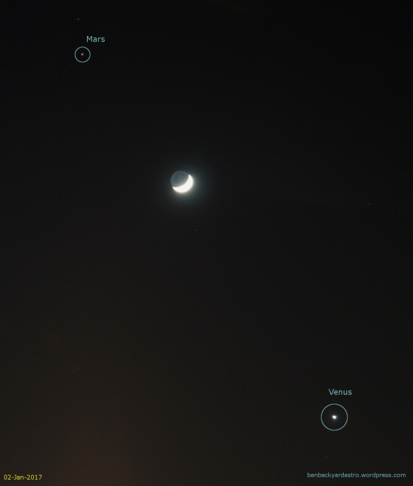 02-Jan-2017: The crescent Moon between Mars and Venus
