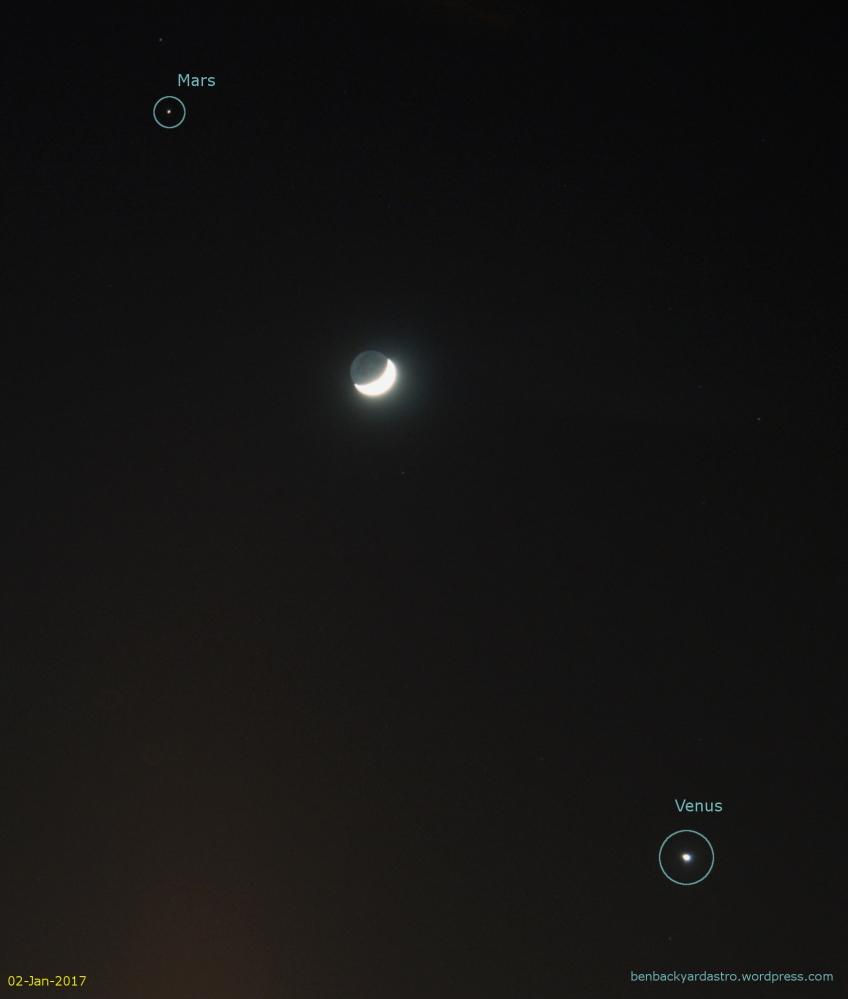 02-Jan-2017: The crescent Moon between Mars and Venus