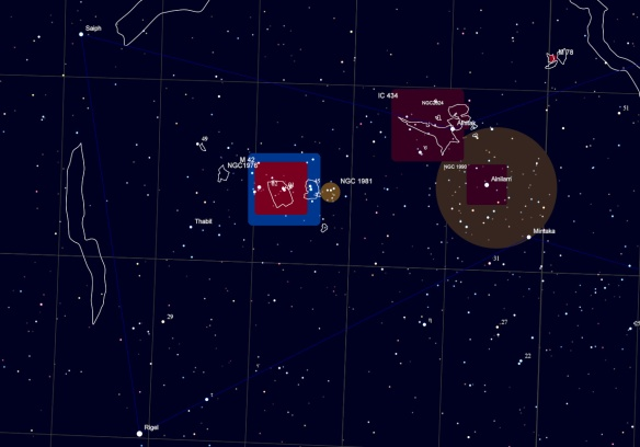Sky Chart - Lower Orion with nebula and open star clusters