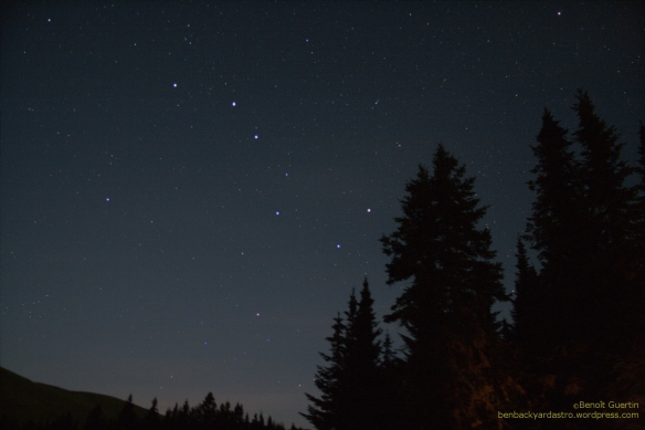 Ursa Major (Big Dipper) low in the sky in late summer around 11pm