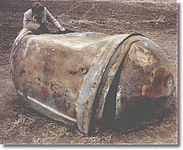 Delta 2 rocket fuel tank surviving re-entry near Georgetown, TX, on 22 January 1997
