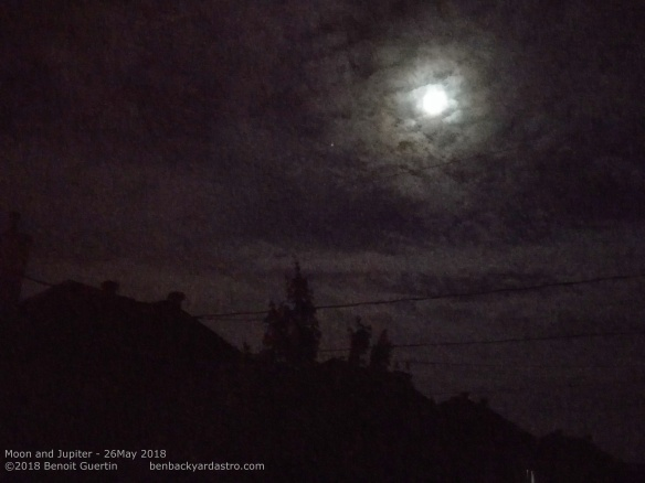 Jupiter and the Moon shining through the cloud - May 26, 2018
