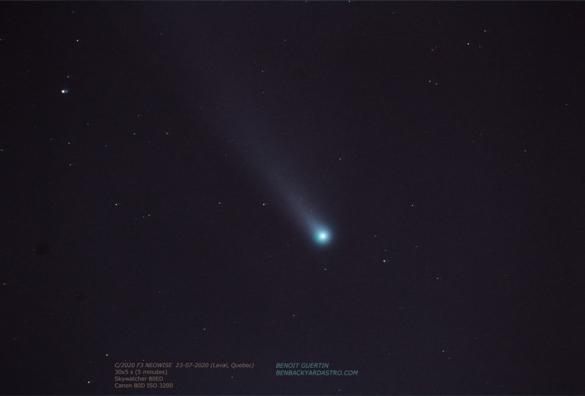C/2020 F3 NEOWISE taken with Skywatcher 80ED telescope, July 23, 2020 (Benoit Guertin)