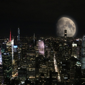 Moon Rising over New-York Skyline (photo montage)